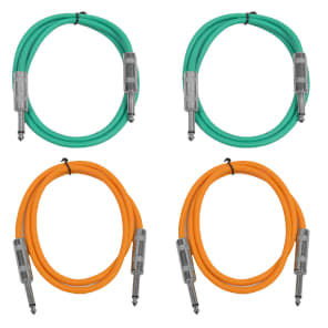 """Seismic Audio SASTSX-2-2GREEN2ORANGE 1/4"""" TS Male to 1/4"""" TS Male Patch Cables - 2' (4-Pack)"""