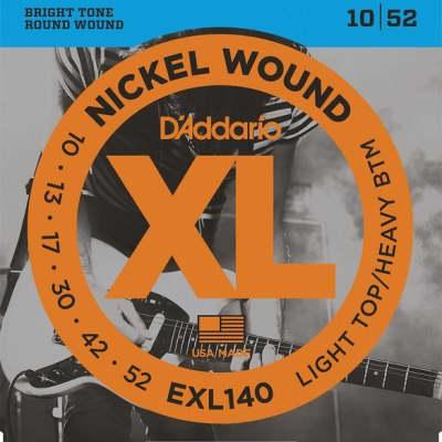 D'Addario Light Top/Heavy Bottom, 10-52, Electric Guitar Strings EXL140