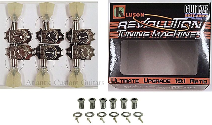 Kluson Revolution Locking Tuners 3x3 Pearloid keystone button - Nickel KEDPL-3801N
