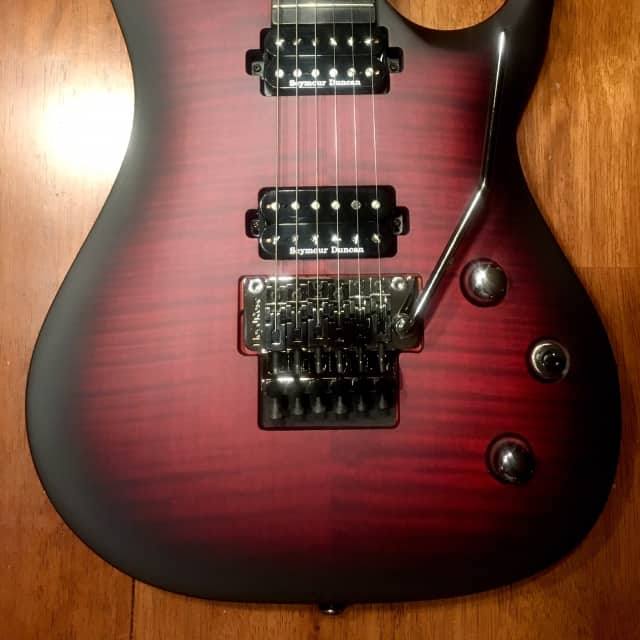 Washburn  Parallaxe PXM20FRFBCBM Satin Black Cherry Flame Top Electric Guitar w/ Floyd Rose image