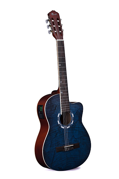 adeb1931bcc Lindo LDG-960CEQ Electro-Acoustic Classical Guitar with Canvas Carry Case -  Picasso Blue