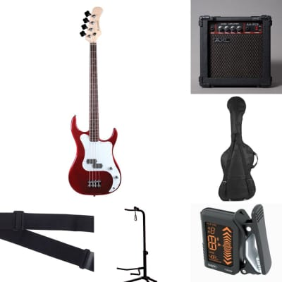 Baltimore BB-5 Metallic Red 4 String Electric Bass Pack +AXL 15W Amp Bag Strap Stand Tuner for sale