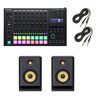 "Roland MC-707 GROOVEBOX + (2) KRK ROKIT 5 G4 5"" 2-Way Active Studio Monitor and Cables."