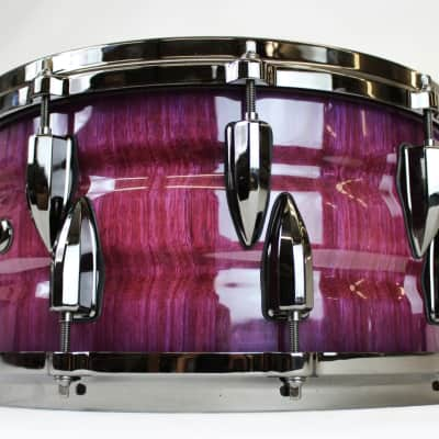 HHG 14x7 purple heart stave snare 2017 High Gloss Tinted Lacquer With Black Nickel Hardware