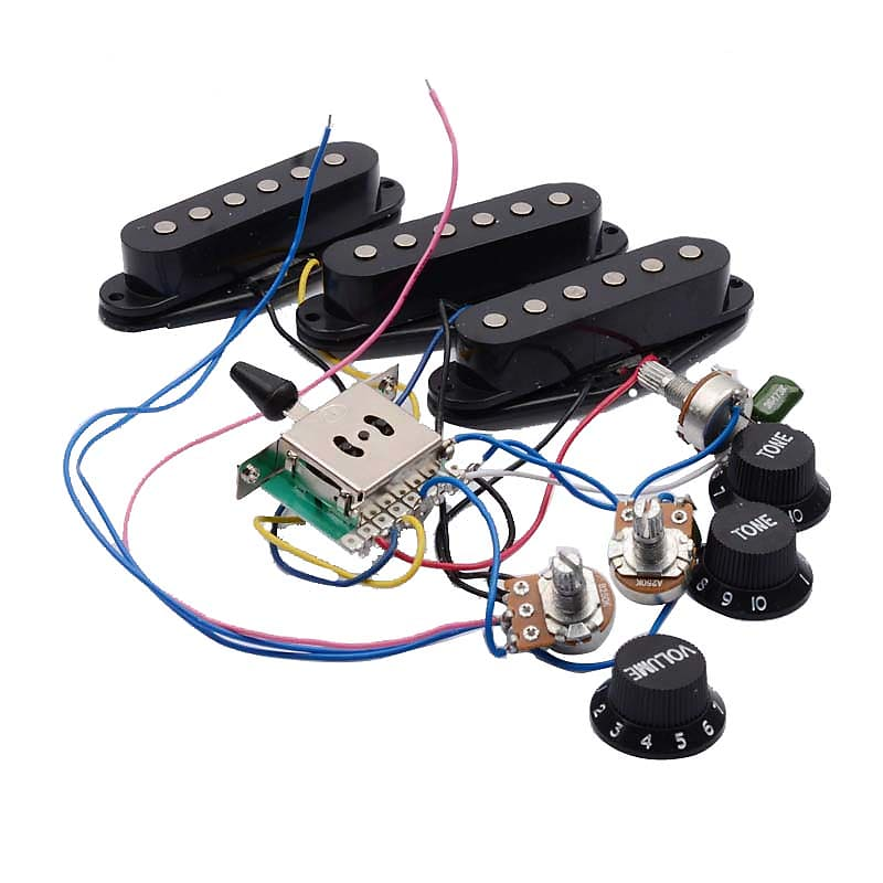 Wiring Harness Prewired 5-way Switch 2T1V SSS Humbucker Pickup for on