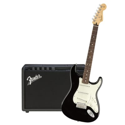 Fender Player Stratocaster Black Pau Ferro & Fender Mustang GT 40 Bundle for sale