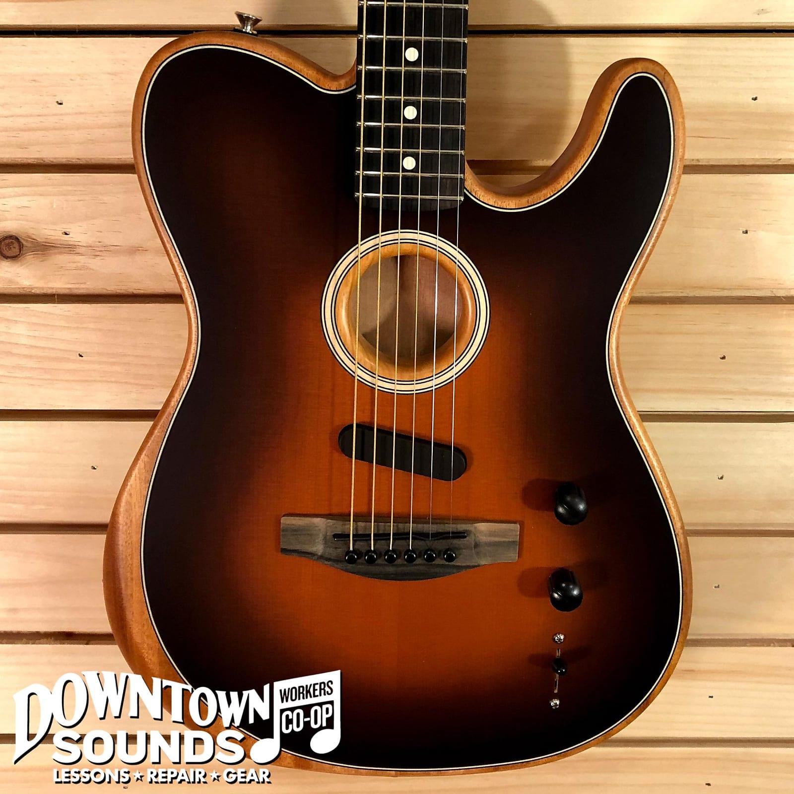 Fender American Acoustasonic Telecaster - Ebony Fingerboard - Sunburst - with Deluxe Bag