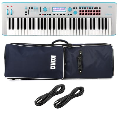 Korg KROSS 2 61-Key Synthesizer Workstation (Gray-Blue), KORG KROSS 2 Soft Case, (2) 1/4 Cables Bundle