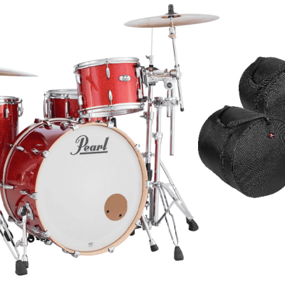 Pearl Masters Complete 24x14_13x9_16x16 Vermillion Sparkle Shell Pack FREE GigBags Authorized Dealer