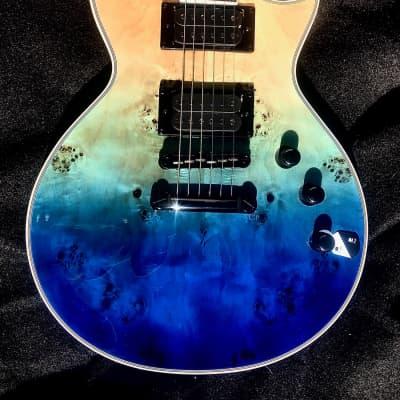 ESP  LTD Deluxe LEC1000BPBLUNFD 2020 Blue Natural Fade Burl Poplar Top Guitar Demo Video INSIDE for sale