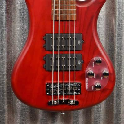 Warwick Rockbass Corvette $$ Double Buck Burgundy 5 String Bass & Bag #0118