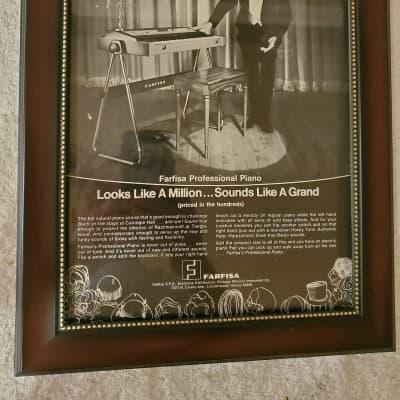 1972 Farfisa Organs Promotional Ad Framed Farfisa Professional Piano Original
