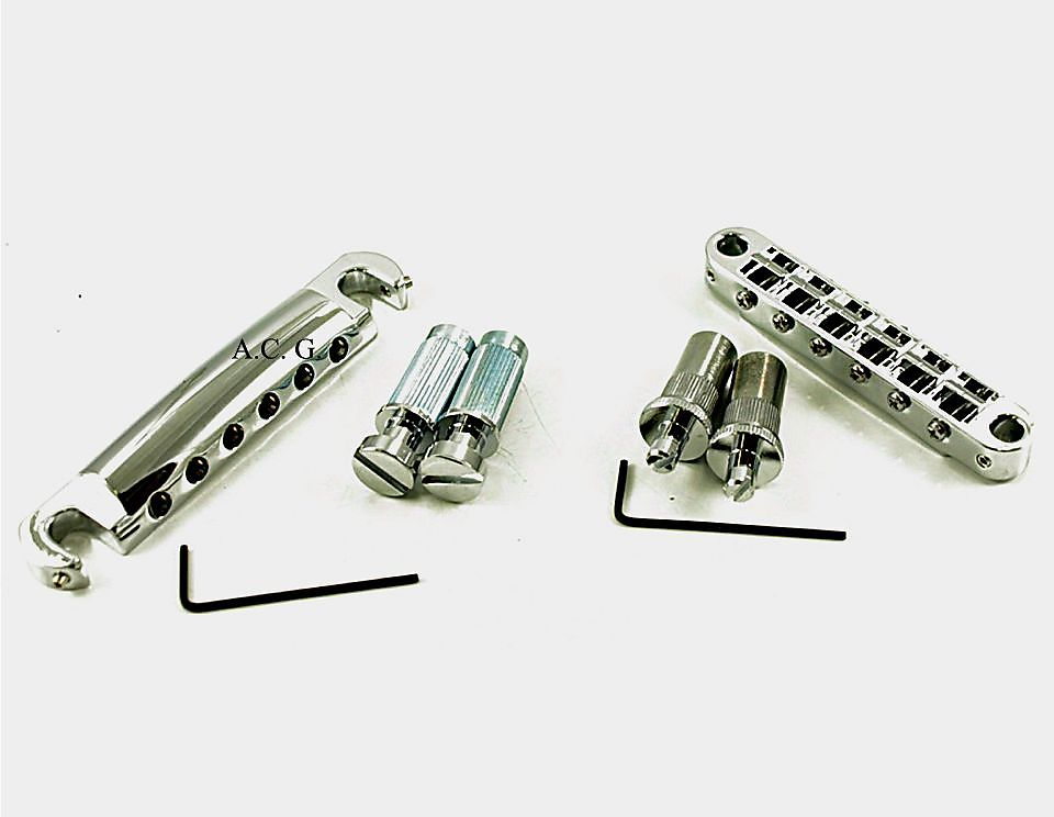 TonePros METRIC Pre-Notched Tuneomatic Bridge & Tailpiece Set New Chrome
