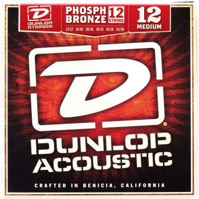 Dunlop DAP1252J  Phosphor Bronze 12-String Acoustic Guitar Strings, Medium 12-52