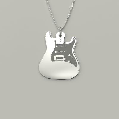 Dreamopedia design Stratocaster  type silver pendant and chain