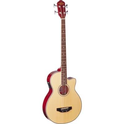 Oscar Schmidt OB100N 4-String Acoustic Electric Bass Guitar with Bag, Natural for sale