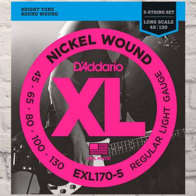 D'Addario EXL170-5 5-String Light Nickel Wound 5 Bass Strings 45-130