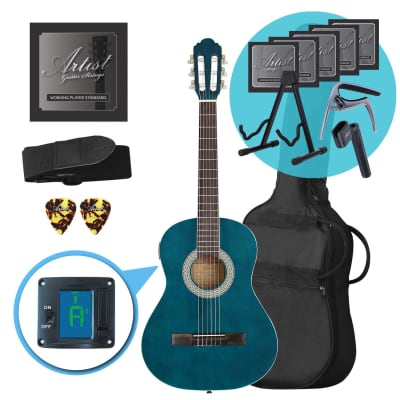 Artist CL34TBB 3/4 Size Classical Guitar Ultimate Pack - Blue for sale