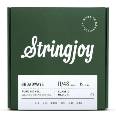 Stringjoy Broadways Classic Medium Gauge (11-48) Pure Nickel Electric Guitar Strings