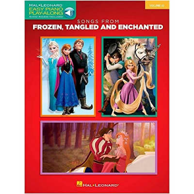 Hal Leonard 126896 Songs from Frozen, Tangled and Enchanted Easy Piano CD Play-Along Book - Red