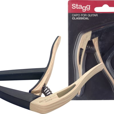 Stagg SCPX-FL Flat trigger STYLE capo for classical guitar Light Wood Finish 2017 for sale