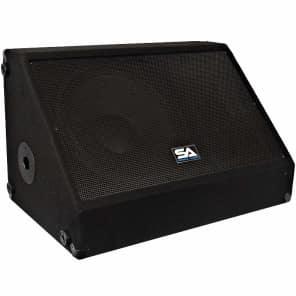 "Seismic Audio SA-15MXSingle Passive 1x15"" Titanium Horn 350w Floor Monitor Wedge Speaker w/ Pole Mount"