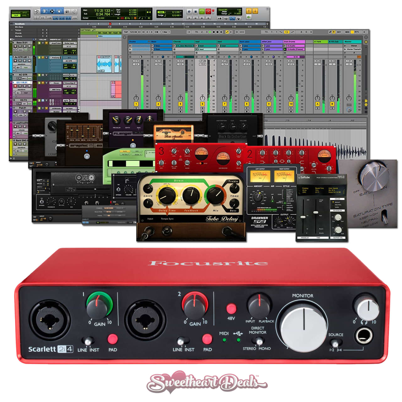 focusrite scarlett 2i4 2nd gen usb audio interface with pro reverb. Black Bedroom Furniture Sets. Home Design Ideas