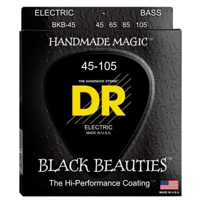 DR Strings BRB-45 Black Beauties Bass Strings - Extra-Life, Black-Coated