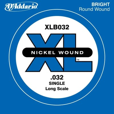 D'Addario XLB032 Nickel Wound Long Scale Single Bass Guitar String, .032