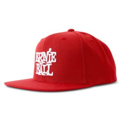 Ernie Ball 4155 Red with White Stacked Ernie Ball Logo Hat for sale