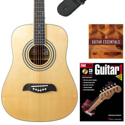 Oscar Schmidt OG5 3/4-Size Kids Acoustic Guitar - Natural Learn-to-Play Bundle with Tuner, Strap, Picks, Instructional Book, DVD, and Austin Bazaar Polishing Cloth for sale