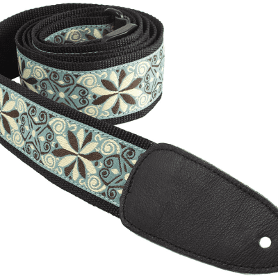 Henry Heller 2in Deluxe Jacquard Guitar Strap - Mint Green and Mocha Floral
