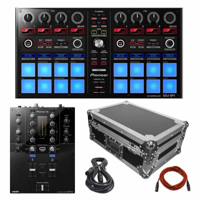 """Pioneer DDJ-SP1 Serato Sub Controller with DJM-S3 2-Channel Mixer and 10"""" DJ Mixer Case Package"""