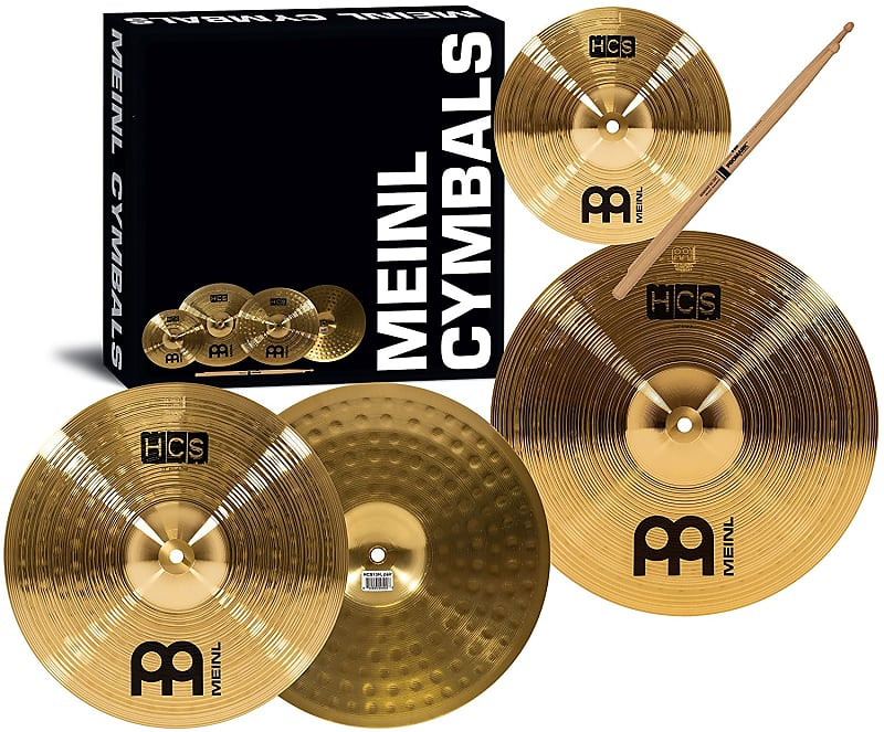 "Meinl HCS1314+10s HCS Three for Free Box Set 14/10"" Cymbal Pack with Sticks, Lessons image"