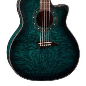 Dean Exotica Quilt Ash Trans Blue Acoustic/Electric Guitar, DMT Preamp, EQA TBLS for sale