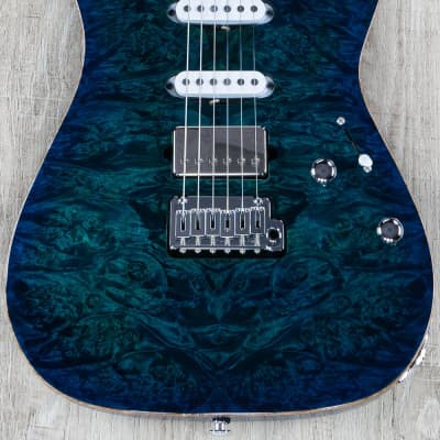 Suhr Standard Custom HSS Guitar, Aqua Blue Burst, Birdseye Maple, Burl Top