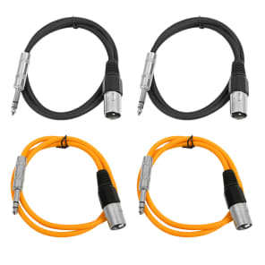 "Seismic Audio SATRXL-M2-2BLACK2ORANGE 1/4"" TRS Male to XLR Male Patch Cables - 2' (4-Pack)"