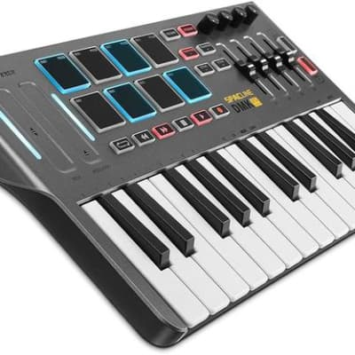 Professional Mini  25 Key USB, MIDI Keyboard Controller With 8 Backlit Drum Pads 4 Knobs 4 control