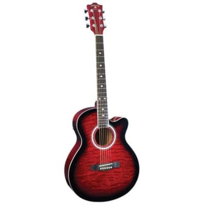 Indiana Madison Acoustic Exotic Red Guitar MAD-QTRD for sale