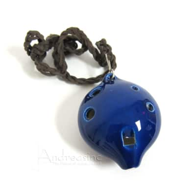 Blue Alto Clay Ocarina Flute, w/ Leather Necklace, in A