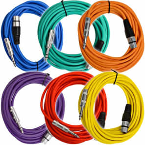 """Seismic Audio SATRXL-F25BGORYP XLR Female to 1/4"""" TRS Male Patch Cables - 25' (6-Pack)"""
