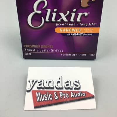 Elixir Nanoweb Phosphor Bronze Coated Acoustic Guitar Strings - Custom Light | 16027