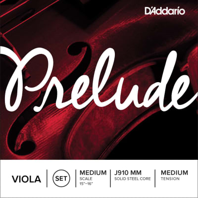 "D'Addario Prelude Viola Strings, Long Scale (16""-16 1/2""), D- Aluminum Wound/Solid Steel Core"