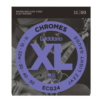 D'Addario ECG24 Chromes Flat Wound Electric Guitar Strings Jazz Light 11-50