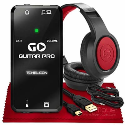 """TC-Helicon GO GUITAR PRO Portable Guitar Interface for Mobile Devices + SR360 Over-Ear Dynamic Stereo Headphones, Xpix 1/4"""" TRS Cables (x2) & Fibertique Microfiber Cleaning Cloth"""