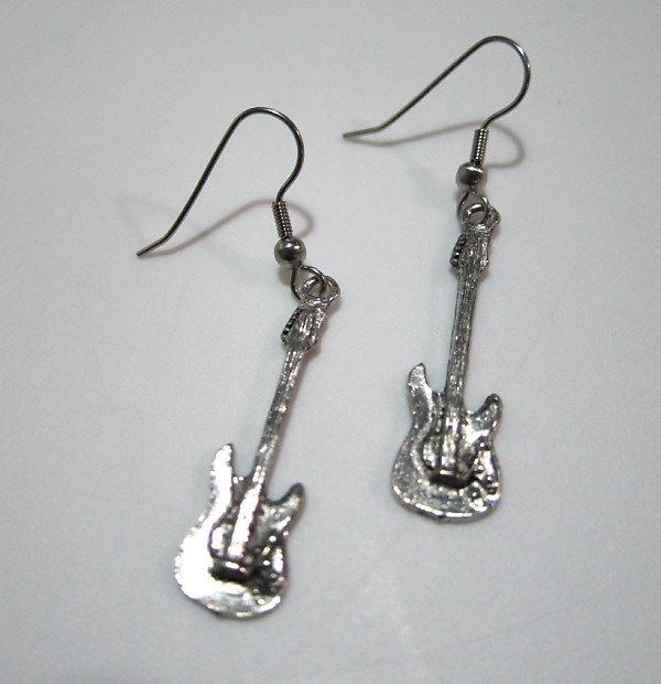 Exclusive Pewter Earrings Electric Guitar