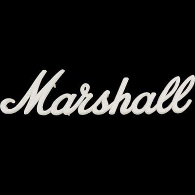 """Marshall White Plastic Amplifier Speaker Logo 9"""""""