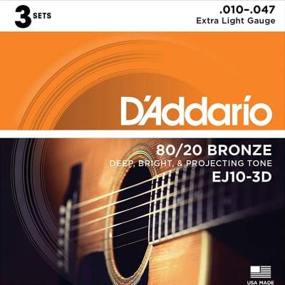 D'Addario EJ10-3D Acoustic Guitar Strings - 3 Pack for sale