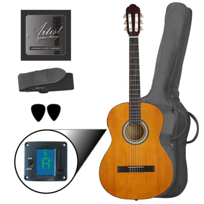 Artist CL44SPKAM Full Size Classical Guitar Pack, Nylon, Slim Neck for sale