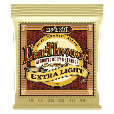 Ernie Ball Earthwood 80/20 Bronze Acoustic Guitar Strings 10-50 Gauge - Extra Light